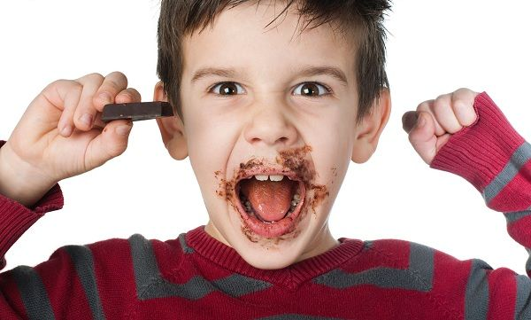 el chocolate en los niños